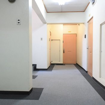 エレベーターホールにはふかふかの絨毯が