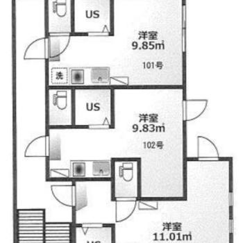 3居住ある1階。102号室は真ん中のお部屋です。