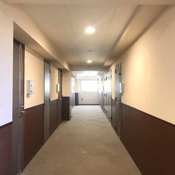 落ち着いた雰囲気の共用廊下。