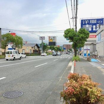 大通りにはスーパーやコンビニ、パン屋さんなんでもそろっています。