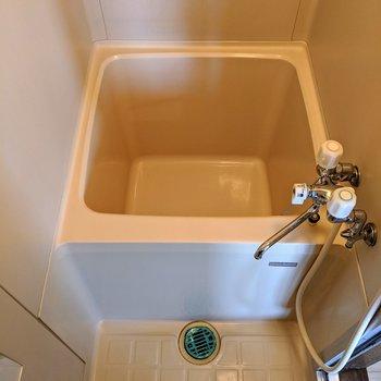浴室、浴槽は少しコンパクト。少ないお湯で暖まることができます。