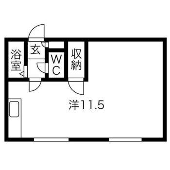 約11.5帖と広めの1Rのお部屋。