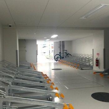 自転車置き場も広いなあ