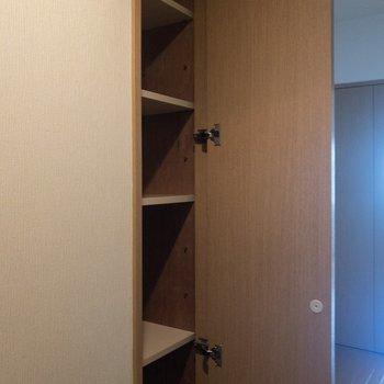 サニタリー前にはシェルフが。タオル収納に役立ちそうです。※写真は6階の同間取り別部屋のものです