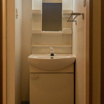 洗面台は収納スペースが多くて嬉しい。※写真は6階の同間取り別部屋のものです