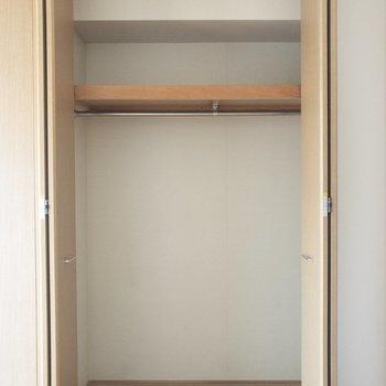 【洋室】クローゼットには2シーズン分くらいの服が入りそう。※写真は6階の同間取り別部屋のものです