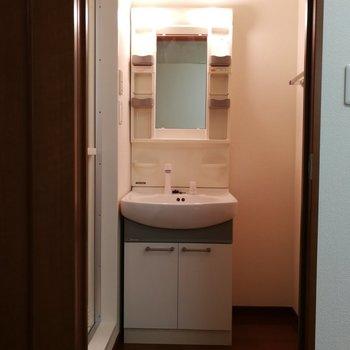 洗面台の横にはタオル掛けと絶妙な空間が。上手く使えば良い収納スペースを生み出せるのでは!?※写真は7階の同間取り別部屋のものです