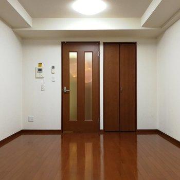 振り返ると扉の横に収納が※写真は7階の同間取り別部屋のものです