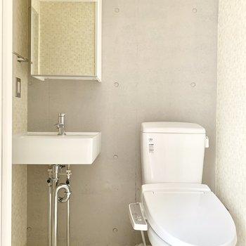 トイレは脱衣所に。※ 写真は通電前のものです・フラッシュを使用しています