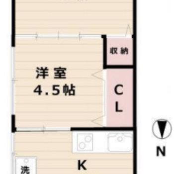 洋室が縦に繋がっている2Kのお部屋です