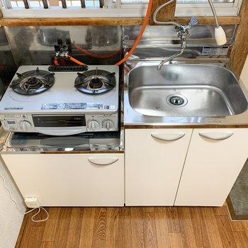 【キッチン】2口コンロで洗い場も大きめ!