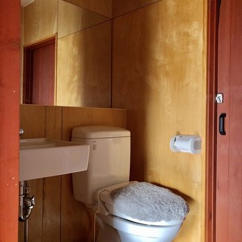 脱衣所にトイレがあります(※写真は清掃前のものです)