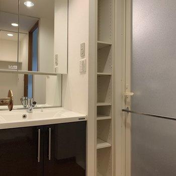 大きな鏡がついた洗面台は、朝の身支度も悠々とできますね!