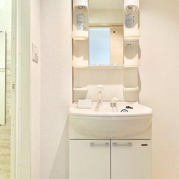 独立洗面台です。左横にはバスタオル掛けが置けそうです。