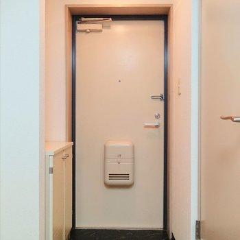 玄関はワントーンの色使いです。