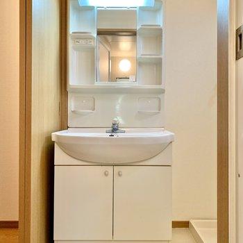 水回りは1階に。収納ポケット付き洗面台は身支度がスムーズになりそう。