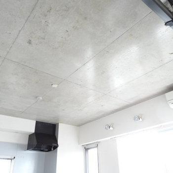 スポットライトの下には何を置こうか?天井は魅惑のコンクリです。(※写真は6階の同間取り別部屋、清掃前のものです)