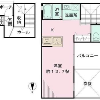 1階に玄関、2階にお部屋があります。