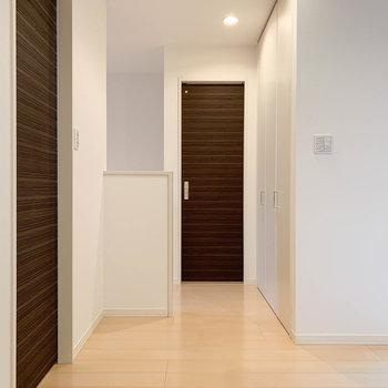 キッチンから見ると。左扉は脱衣所。奥に階段とトイレがあります。
