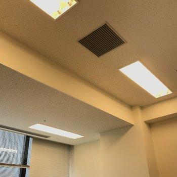 空調と照明。天井は少しレベル差があります。※写真は同じ広さの別部屋のものです。