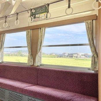 ガタンゴトン、揺れる電車、癒しの景色。