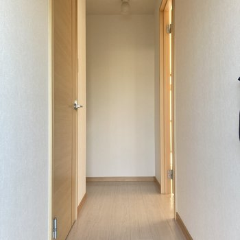 左側のドアにお風呂などの水回りがあります。