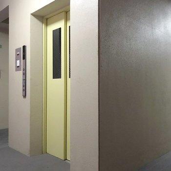 エレベーターを中心にお部屋が配置されています。