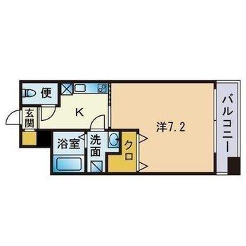 1人暮らしにちょうどいい広さの1Kのお部屋です。