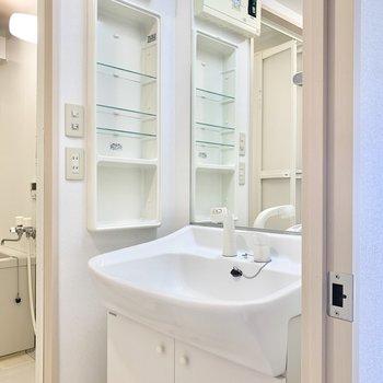 大きめ鏡が嬉しい独立洗面台。