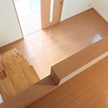 見下ろした景色。階段は少し急だけど手すりがあります。(※写真は清掃前のものです)