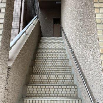 全面道路からの直階段。蹴上と踏面のタイルが素敵です。
