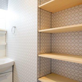 洗面台横には棚もあります。タオルなどはここに
