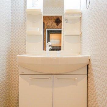 シンプル洗面台。横のスペースに収納を設置できそう