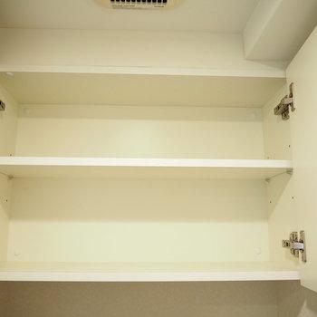 上部には棚があるので、トイレットペーパーなども置けますよ!