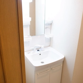 洗面台の左がすこし空いており、スリムな棚などが入ります。(※写真は1階の反転間取り別部屋のものです)