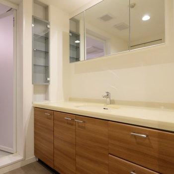 脱衣所の洗面台もこのゆとり。