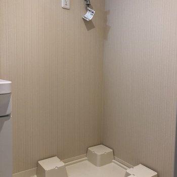 脱衣所に洗濯機。脱いだ服をすぐ洗えます。※写真は5階の同間取り別部屋のものです