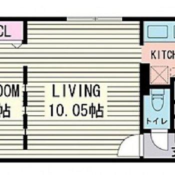 仕切り方がお洒落な1LDKのお部屋。