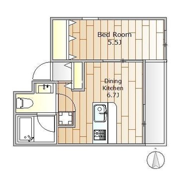 角部屋の1DKのお部屋です。