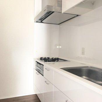 キッチンは2人で立っても余裕がありそうな広さです。