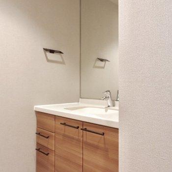 大きな鏡の洗面台。収納力も◎※写真は前回募集時のもの