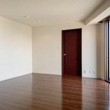 【洋室13.2帖】こちらも広々としています。扉は納戸へ続いています。