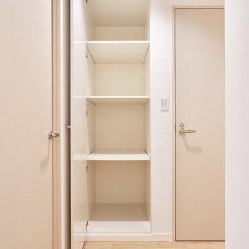 トイレ横にも収納が!日用品のストックに最適!