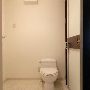 脱衣所にはトイレ、洗面台が一緒になっています(※写真は2階の同間取り別部屋のものです)