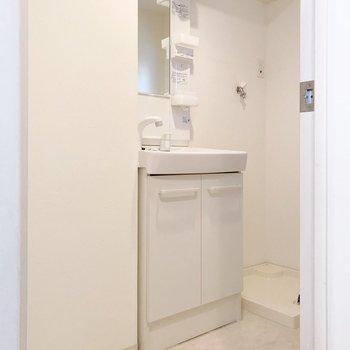 右奥には窓があります。どっしり洗面台で朝の支度もラクラク!(※写真は清掃前のものです)