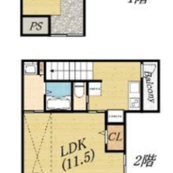 1Kのお部屋です。2階にあります。