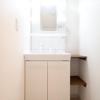 充実の洗面台。収納もばっちりですね。