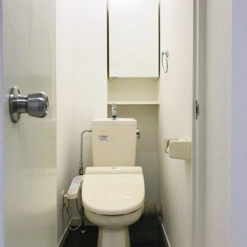 トイレにも収納棚付き。