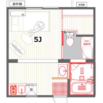 キッチンエリアも含めると、約7帖の広さです。