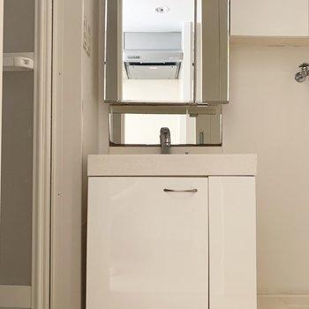 大きめ鏡の独立洗面台